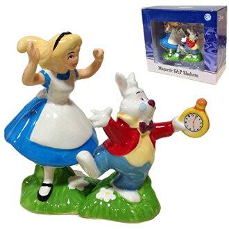 愛麗絲在仙境愛麗絲玩具華蘭、 陶瓷鹽和胡椒瓶迪士尼仙境愛麗絲 (愛麗絲 & 兔子)
