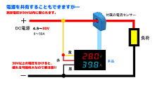デジタル電圧計&電流計(DC100V50A)【赤V&青A】電流センサー付き