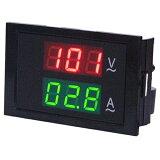 交流デジタル電圧計&電流計 (AC 80-300V 50A) 【赤V&緑A】電子工作