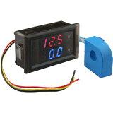 デジタル電圧計&電流計 (DC 100V 50A) 【赤V&青A】 電流センサー付き 双方向電流計 電子工作