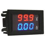 電圧電流計 デジタル電圧計&電流計 DC100V 10A (赤V&青A) 特価バルク品