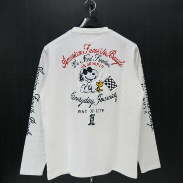 フラッグスタッフ スヌーピー刺繍長袖Tシャツ M/L/XL/XXLサイズ 白 483007-10 FLAGSTAFF SNOOPY