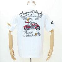 フラッグスタッフスヌーピー刺繍半袖Tシャツ白412016-10FLAGSTAFFSNOOPY夏サマーバイク