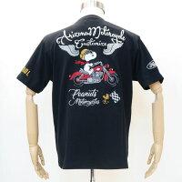 フラッグスタッフスヌーピー刺繍半袖Tシャツ黒412016-20FLAGSTAFFSNOOPY夏サマーバイク