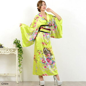 kimono dress sexy kimono dress party event super low price kimono dress oiran cosplay cabaret dress long dress costume cabaret dress small devil water party ★ oiran series ☆ japanese pattern satin kimono Long dress ♪ Freedom dress [RCP] sale Sale
