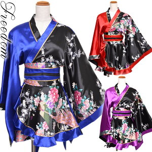 oiran kimono dress sexy kimono dress cosplay costume costume cabab dress mini dress cababa dress small devil water party tanabata festival yukata ★ glossy cute oiran style! Color scheme Peacock Frill Kimono Mini Dress ★ Freedom [RCP] sale Sale