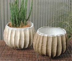 植木鉢鉢カバーおしゃれプランターカバーポット陶磁器アンティークナチュラル【送料無料】ストーンウェアポット(ホワイト/ブラウン)