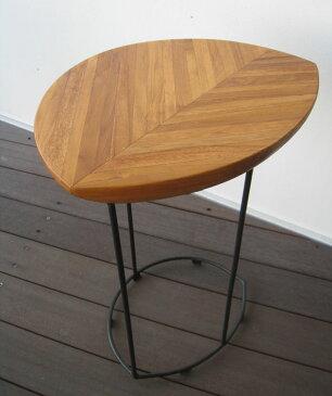 ソファサイドテーブル 無垢 サイドテーブル ベッドサイドテーブル 木製 北欧 アイアン チーク無垢 ナイトテーブル 木製コーヒーテーブル カフェテーブル 木製 おしゃれ ナチュラル 花台 台 【送料無料】リーフ サイドテーブル
