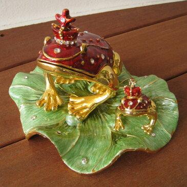 かえる カエル 蛙 宝石箱 ジュエリーボックス ジュエリーBOX アクセサリーケース 小物入れ 小物収納 置物 プレゼント 贈り物 お誕生日 プレゼント お祝い おしゃれ【送料無料】エナメルBOX 殿様蛙(特大)赤