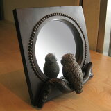 卓上ミラー 鏡 スタンドミラー ふくろう フクロウ 梟 ミラー 鏡 置き鏡 インテリア おしゃれ フクロウグッズ 可愛い かわいい アンティーク インテリア雑貨 縁起の良い 贈り物 プレゼント 福を呼ぶ【お買得品】フクロウのミラー
