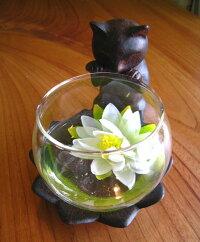 《'31.1月上旬入荷予定》花瓶花器ガラスベースフラワーベース置物猫ねこオブジェインテリア雑貨アジアン雑貨プレゼント贈り物【大人気!】猫のガラスベース