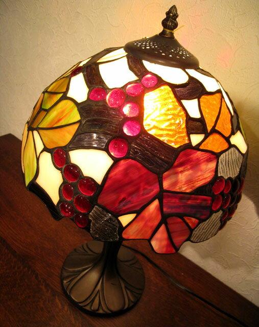 《次回6月入荷予定》照明 ステンドランプ おしゃれ スタンド ベース ステンドグラス ランプ 照明器具 ステンドガラス 葡萄 ぶどう スタンドライト テーブルランプ 贈り物 母の日 プレゼントステンドグラス ランプEM-108/葡萄
