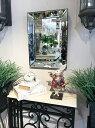 鏡 ミラー 大型ミラー 店舗用 美容室 美容院 お店 姿見 壁掛けタイプ アンティーク 軽量 木製フレーム 豪華 クラシック エレガント シャビー 北欧 ウォールミラー おしゃれ 立体装飾 新築祝い 【お買得品】ウォールミラー 高さ50.5cm Silver