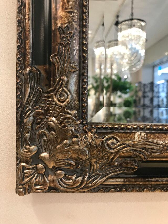 鏡 ミラー 大型ミラー 美容院 店舗用 お店 ハウスメーカー 建築メーカー 姿見 壁掛けタイプ アンティーク 軽量 木製フレーム 豪華 クラシック エレガント シャビー 北欧 ウォールミラー おしゃれ 立体装飾 新築祝い BIGウォールミラーClassical Gold