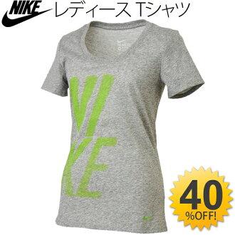 婦女的短袖襯衫耐克耐克 DRI 適合棉花勺 T 襯衫 logo 印刷健身跑步女裝灰色灰色運動上衣縫 / 778664