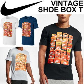 耐吉人短袖T恤NIKE復古鞋箱印刷T圓領男性訓練健身房運動休閒裝頂端/83萬4637