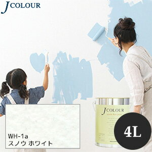 【塗料】【ペンキ】壁紙の上から塗れるペンキ 人にやさしい水性ペイント Jカラー 4L スノウホワイト *__wh-1a400
