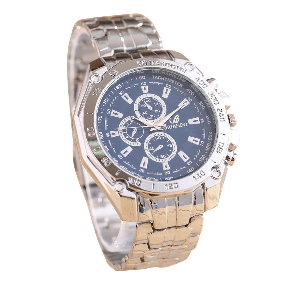 メンズ シルバー クォーツ 腕時計 ファッション ウォッチ ラウンド フェイス ビジネス 男性用【メール便】◇ZZ-SYG