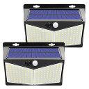 2個セット 208LED ソーラーライト ウォールライト 人感 センサーライト PIRモーションセンサー 夜間自動...