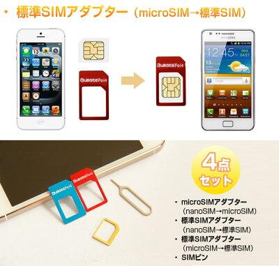 SIMカード変換アダプタ/4点セット/SIMピン付き/NanoSIM→Micro・標準SIM/MicroSIM→標準SIMカード/ゆうパケットで送料無料◇SIMADAPTER