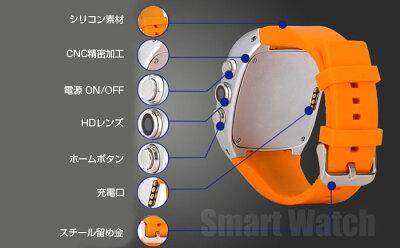 【処分品】日本語表示!Android4.4.2搭載スマートウォッチmicroSIM搭載可能GPSWI-FIHDカメラテザリング◇X01-CLASSB