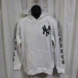 Majesticマジェスティックパーカーホワイト新品白ニューヨークヤンキースNEWYORKYANKEESフーディープルオーバーレディースオーバーサイズ