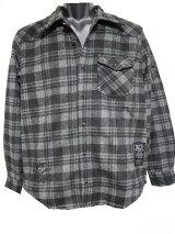 エドハーディーedhardyメンズネルチェックシャツグレーxブラックM060CF052新品