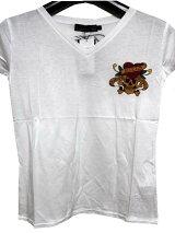 エドハーディーEDHARDYレディース半袖TシャツホワイトW02CMV052正規品
