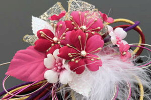 髪飾り和装新作2点セット和装花成人式卒業式結婚式パーティ浴衣夏祭り和modern丸打組紐黄金桜〈ローズ〉