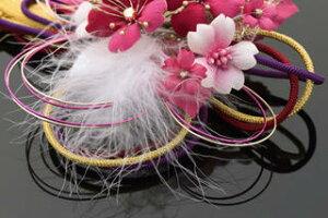髪飾り和装2点セット和装花成人式卒業式結婚式パーティ浴衣夏祭り和modern丸打組紐黄金桜〈ローズ〉RV