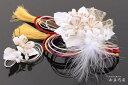 髪飾り和装 2点セット和装花成人式卒業式結婚式パーティ浴衣夏祭り和modern丸打組紐黄金桜〈白〉