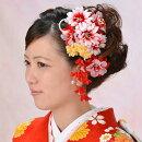 髪飾り2点セット和装花成人式卒業式結婚式パーティ浴衣夏祭りWatmospherecuteグラデーションダブルダリア〈赤〉