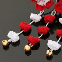 七五三髪飾り2点セット紅ちりめん×紅水玉ちりめん桜&紅白シルクハート銀ベース桜