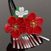 七五三髪飾り2点セット紅ちりめん×紅水玉ちりめん桜&紅白シルクハート桜