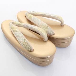 [草履バッグセット フォーマル用] 口金G ハートYO-A型 一本手 本革 組帯《V型 イエローベース》〈草履:M〉組織帯地 本皮 皮製品 正絹