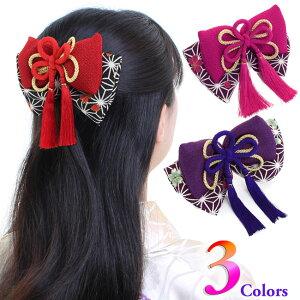 [Special plan / Shipping fee borne by us] Hair ornament Japanese modern Hakama Graduation ceremony Furisode Fashionable Yukata New Year Hinamatsuri Hinamatsuri Chirimen Leaf Double Ribbon <3 types>