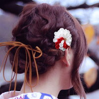 [髪飾り和装つまみかんざし]2点セット和装花成人式卒業式結婚式パーティ浴衣夏祭り七五三髪飾りつまみかんざしコームタイプ白彩大変わり丸菊〈全5色〉《髪飾り/和装/つまみかんざし》