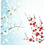 【濱文様・ふろしき(小布)】紅白梅とぼたん雪(ブルー