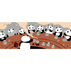【濱文様・絵てぬぐい】パンダカフェ〜人気のパンダ柄シリーズ〜【RCP】