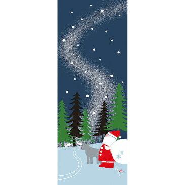 ■メール便OK♪合計2500円(税抜)以上でメール便送料無料■【濱文様・絵てぬぐい】雪山サンタ〜クリスマス柄〜
