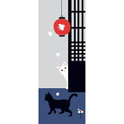 【濱文様てぬぐい】猫と千鳥提灯