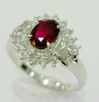 Pt900 プラチナ ルビー ダイヤモンド リング