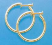 K18ゴールドイヤリング標準的なパイプ輪2mm×25mm(フープネジ式)er-k18-2x25