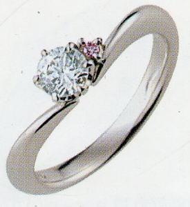 PT900プラチナ V字リング空枠(シチズン)(ピンクダイヤ付き)167-70134(6本爪 0.5ct.用)(中心のダイヤは別売り)
