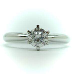 1.0ct.D-VVS1-3EX(H&C)PTプラチナ婚約指輪(エンゲージリング)ダイヤモンドリング、6本爪ソリティアタイプ(鑑定書付)