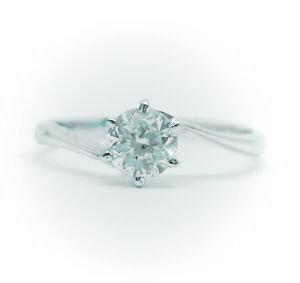0.5ct.D-VS1-3EX(H&C)PTプラチナ婚約指輪(エンゲージリング)ダイヤモンドリング、S字フォルムタイプ6本爪(鑑定書付)