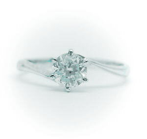 1.0ct.D-VVS1-3EX(H&C)PTプラチナ婚約指輪(エンゲージリング)ダイヤモンドリング、S字フォルムタイプ6本爪(鑑定書付)