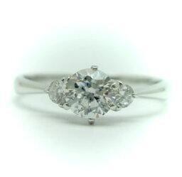 0.5ct.F-VS1-3EX(H&C)PTプラチナ婚約指輪(エンゲージリング)ダイヤモンドリング、両脇メレダイヤ入り(鑑定書付)