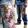【予約販売中送料無料】【J171-2】和柄 ジーンズ 花魁/虎柄!!和柄ジーンズ 和柄ジーパン 和柄刺繍ジーンズ 刺繍ジーパン 和柄刺繍ジーンズ USEDストーンウォッシュ加工 和柄刺繍約90万針にも及ぶ密度の高い高級刺繍 絡繰魂 和柄刺繍!!
