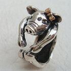 子豚の花子リング送料無料ぶたブタ動物モチーフ指輪18金K18ピンクゴールドシルバーアクセサリーSILVER925